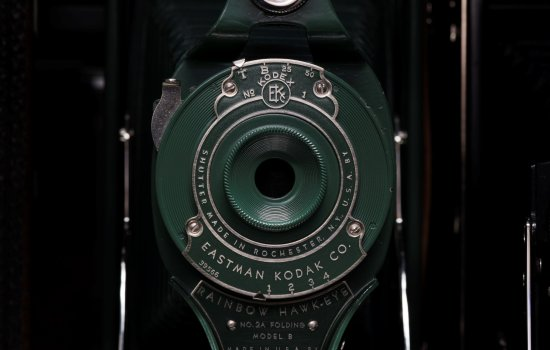 Close up of an Eastman Kodak camera lens