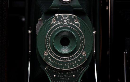 Close up of an Eastman Kodak camera lens