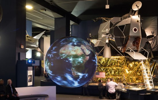 A view of the interactive Earth in the Exploring Space gallery