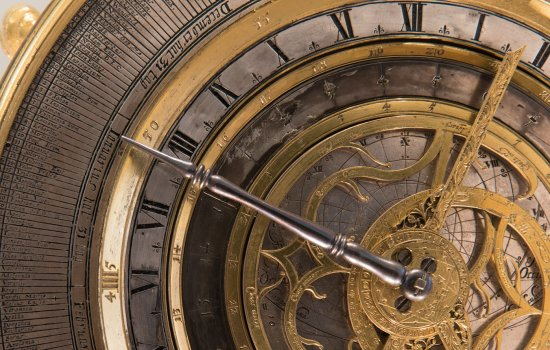 Detail of a clock in the Clockmakers Gallery at the Science Museum