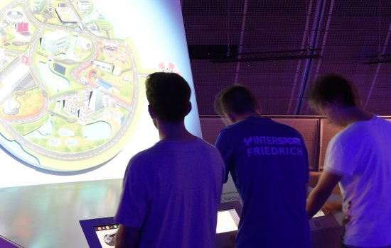 Teenage boys playing Futureville in Engineer Your Future