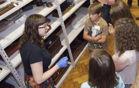 A volunteer at the stores in the Science Museum