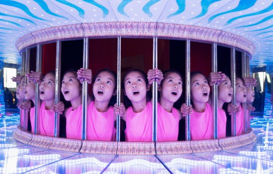 A child explores one of the exhibits in Wonderlab: The Statoil Gallery