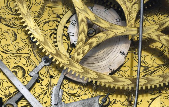 Detail from pedestal astronomical clock by Samuel Watson, London, circa 1695.