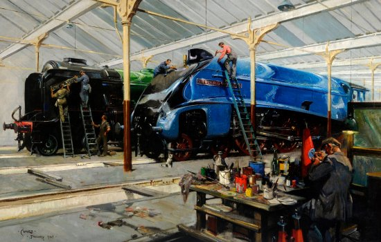 Giants Refreshed, Pacifics in the Doncaster Locomotive Works, courtesy of Doncaster Heritage Services © The Estate of Terence Cuneo, Bridgeman Images