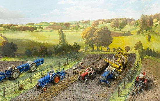 Details of a farming diorama from the Agriculture gallery