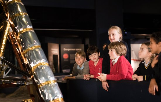 School children in Exploring Space gallery
