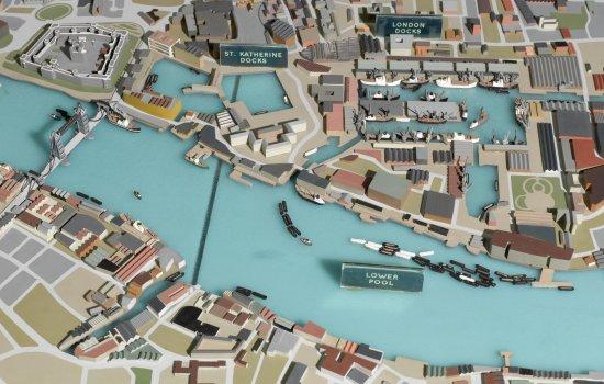 Diorama model of docks of Port of London, c.1966