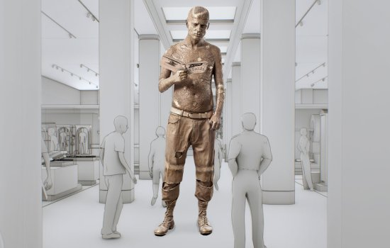 Impression of Marc Quinn's sculpture of Zombie Boy