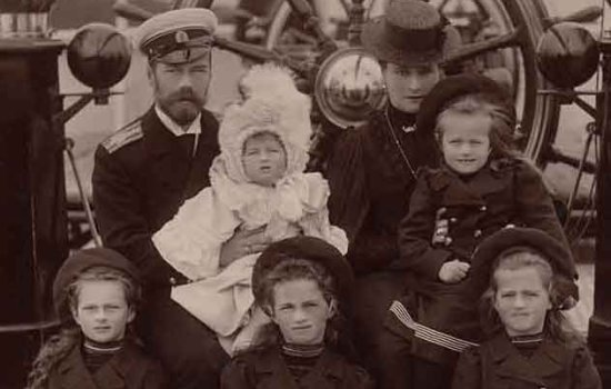 "Empress Alexandra Fyodorovna and Nicholas II with children onboard the ""Polar Star"" yacht, 7 September 1905"