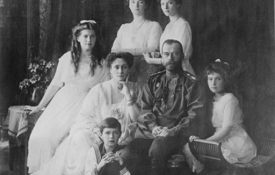 Black and white portrait photograph of Tsar Nicholas II and his family
