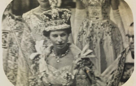 Tele-snap of Queen Elizabeth at her coronation