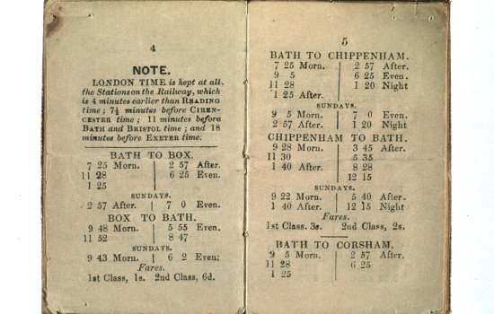 An early railway timetable, 1844, with reference to London time