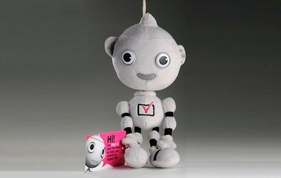 'Digit Al' soft toy against a grey background