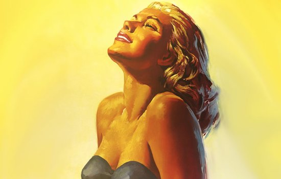 1950s illustration of a blonde, white woman sunbathing