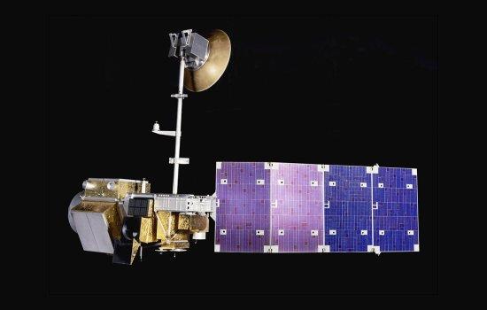 1:6 scale model of the Landsat 5 satellite against a black background