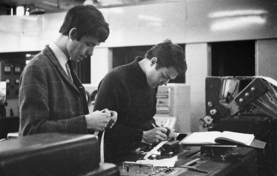 Reading tape from the LEO II/I computer, London, 1957