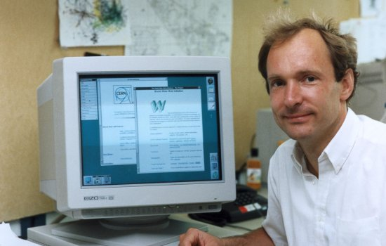 Tim Berners-Lee at a computer, c.1990s