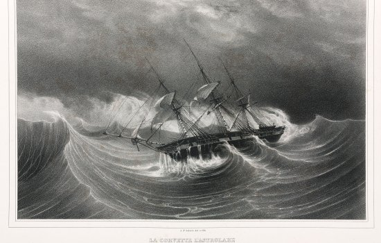 Lithograph of ship the Astrolabe 'falling suddenly on the reefs in the Bay of Plenty', New Zealand, 1826–29.