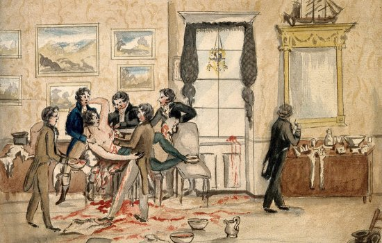 surgeons operating on a man in a smart living room, 1810