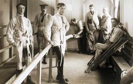 Amputees in rehabilitation at St Marys Hospital Roehampton