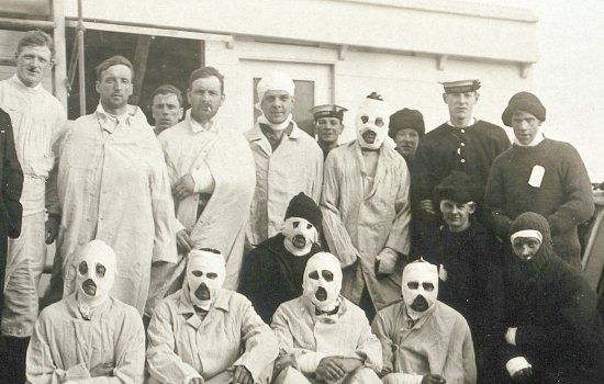 Wounded soldiers some with bandaged faces from First World War on a hospital ship