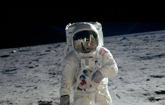 Buzz Aldrin walks on the moon, 1969