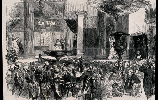 A fund-raising fete in aid of the Hospital for Women, held at Grosvenor House, Park Lane. Wood engraving.