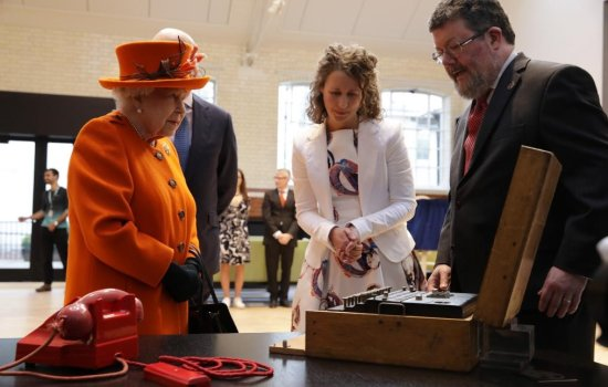 Her Majesty The Queen at the Science Museum on 7 March 2019, with objects from the upcoming Top Secret exhibition including Enigma M1070 © The Science Museum Group