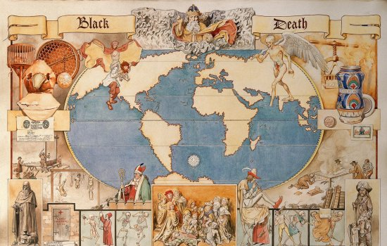 A world map of the Black Death with illustrations