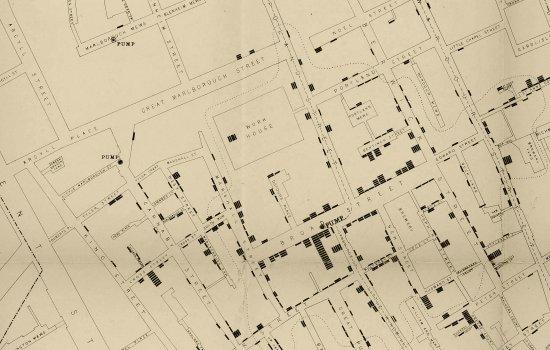 John Snow's cholera map of the Broad Street area of Soho, London