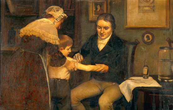 Edward Jenner innoculating a small boy against smallpox as the boy's mother attends