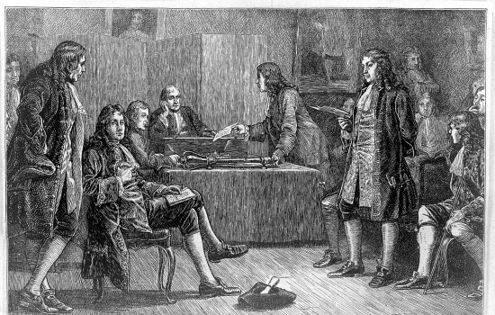 A group of men meeting in a dark room, they are dressed in seventeenth century coats and breeches