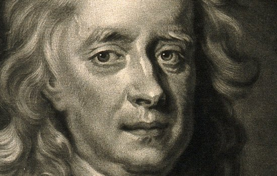 Zoom of a mezzotint of Sir Isaac Newton, the zoom focuses on his face and he has a concerend expression