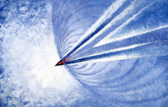 Image of a painting depicting concorde breaking the sound barrier
