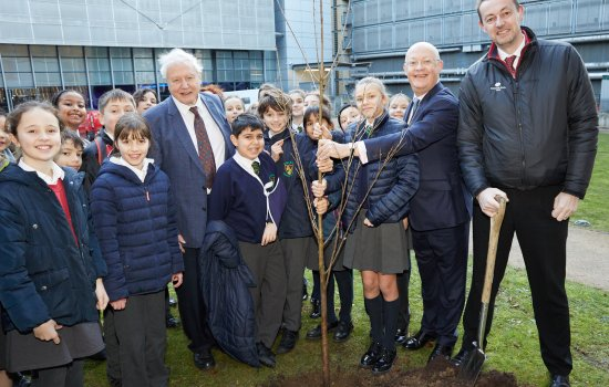 Sir David Attenborough, Sir Ian Blatchford, and CEO of the Woodland Trust Darren Moorcroft plant trees with school children at the Science Museum to mark the Science Museum Group's climate-focused public programme as part of the UK Year of Climate Action © Science Museum Group