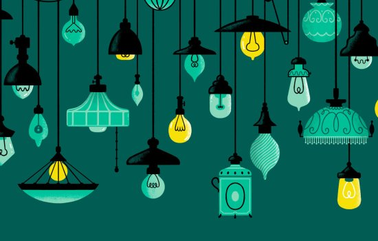 Green hanging lampshades with yellow bulbs