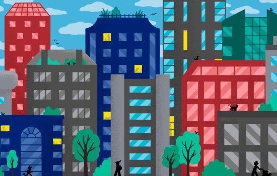 Colourful cityscape