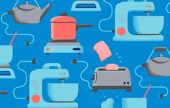 Blue and orange pattern of kitchen appliances