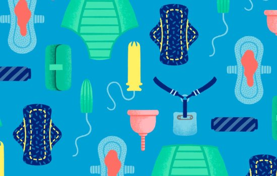 Blue and green pattern of menstrual products