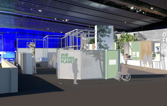 Artwork rendering of entrance to Our Future Planet exhibition