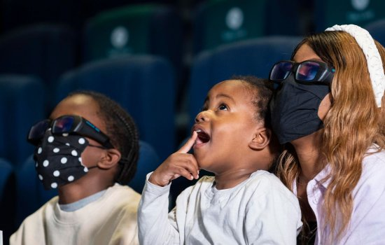 Family watching a screening in IMAX: The Ronson Theatre
