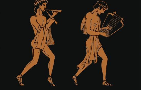 Illustration of ancient Greek Musicians