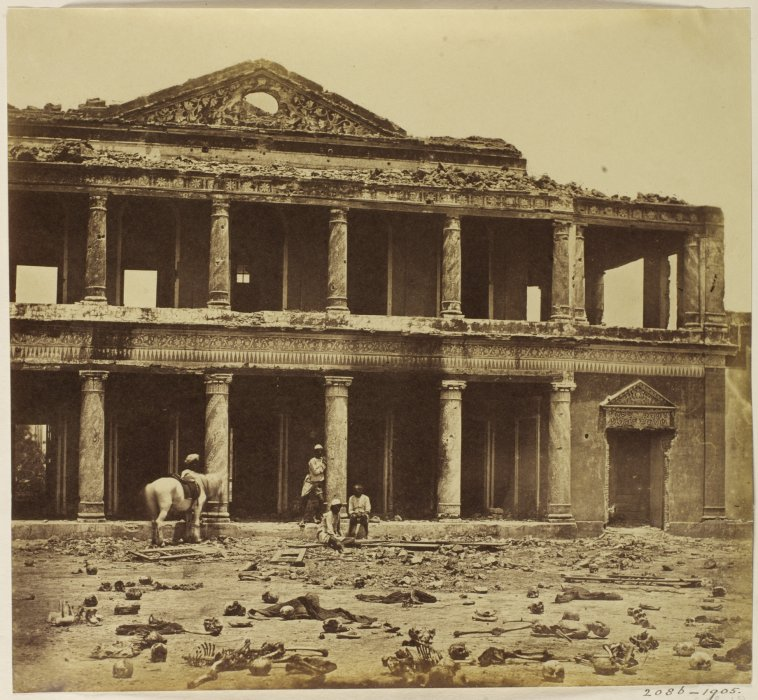 Interior of the Bada Imambada after the Indian Mutiny of 1857 by Felice Beato