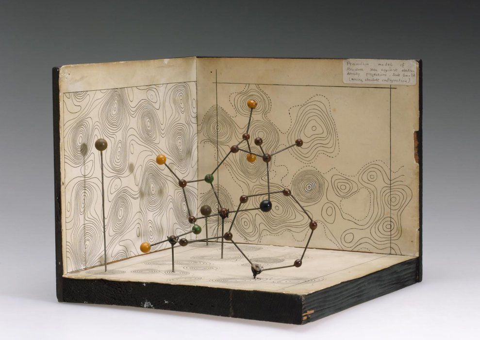 Molecular model of penicillin by Dorothy M Crowfoot Hodgkin, England, 1945