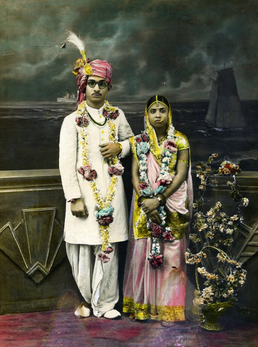 Wedding portrait of an Indian couple c.1920–40