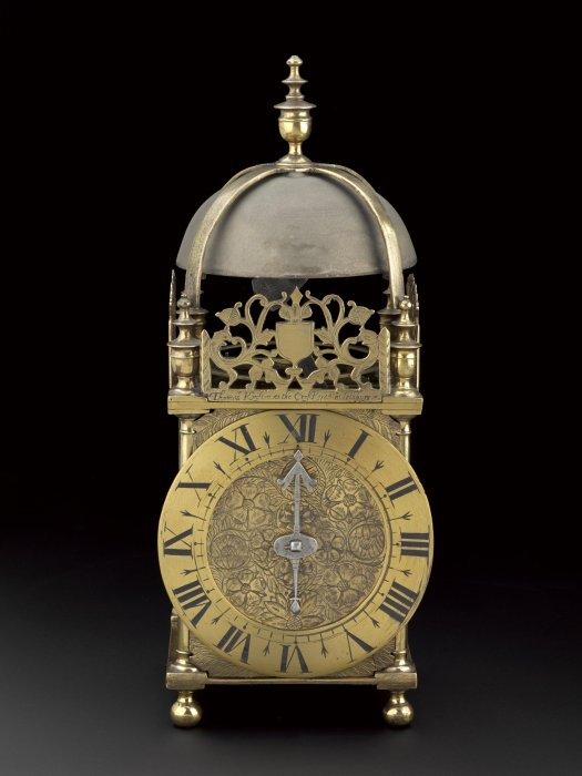 Balance-wheel brass lantern clock, with two driving weights and one counterweight, by Thomas Knifton, Cross Keys, Lothbury, London, England, 1645-1655.