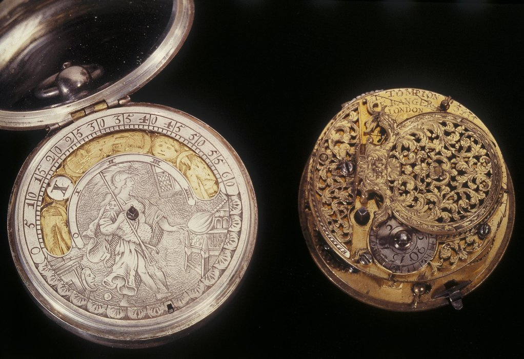 Circular watch by William Crayle and verge watch in pinchbeck pair case by Thomas Tompion and Edward Banger