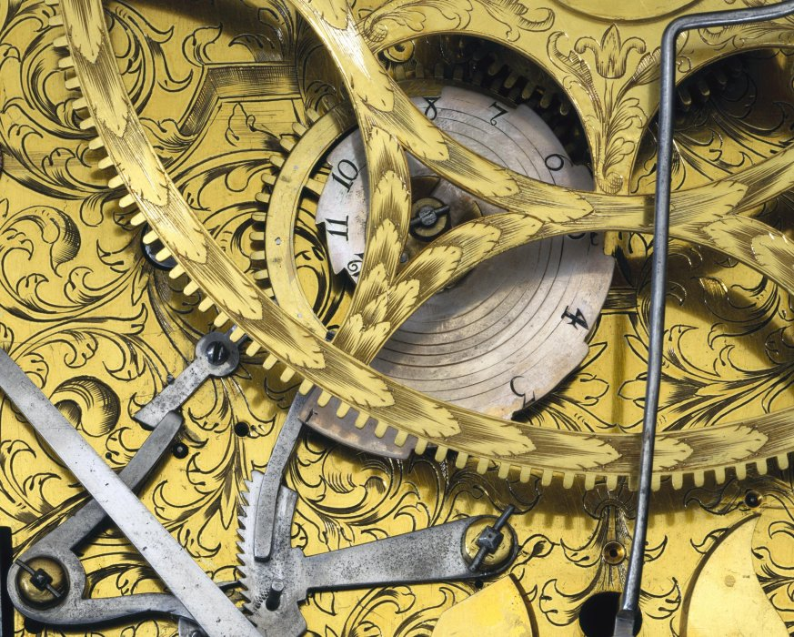 Detail from pedestal astronomical clock by Samuel Watson, London, circa 1695.