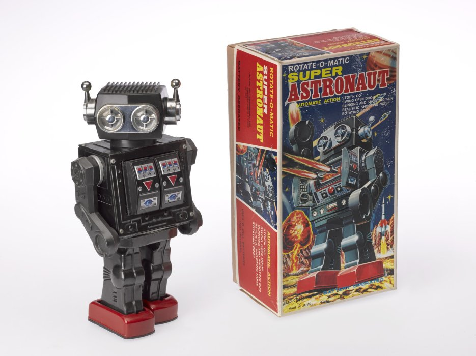 Super astronaut robot with packaging, 1970s, Horikawa, Japan